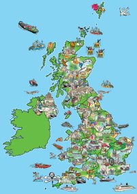 cartoon map of where jobs are mostly situated in the UK