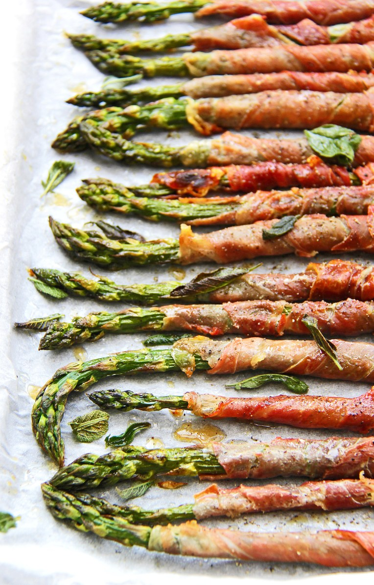 Grilled asparagus wrapped in crispy prosciutto with sage and Parmesan 5