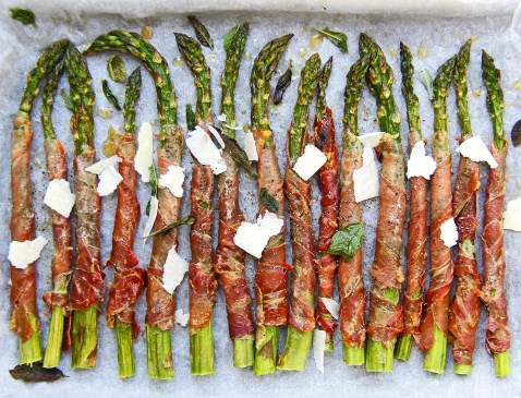 Grilled asparagus wrapped in crispy prosciutto with sage and Parmesan 8