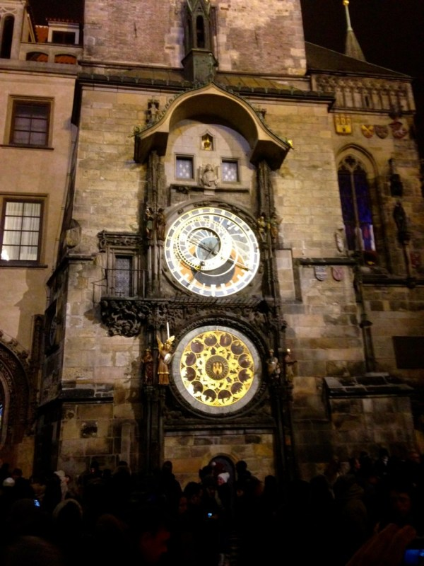 Astronomical Clock at Noon New Year's Day 2016, Prague Czech Republic