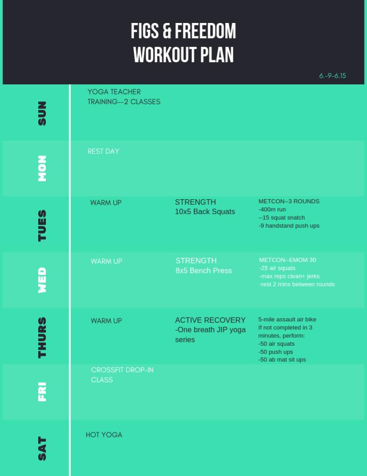 workout plan 6.9-6.15