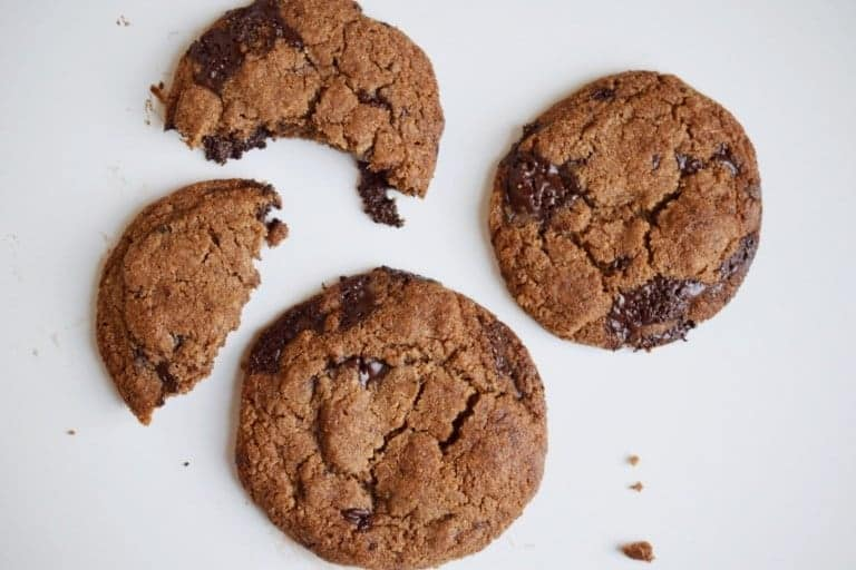 three low carb chocolate chip cookies