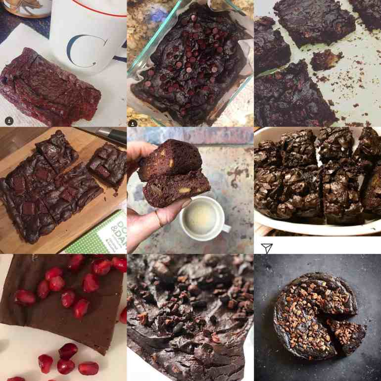 collage of healthy brownies