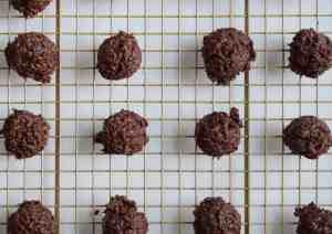 chocolate cookies on wire cooling rack