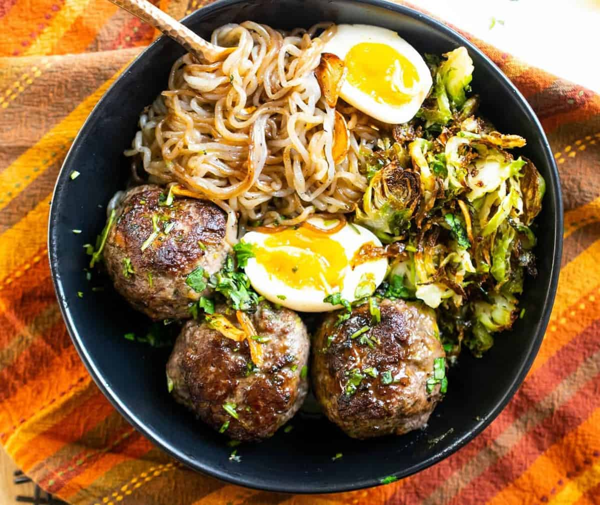 Teriyaki Meatballs Noodle Bowl (Keto, AIP, Paleo)