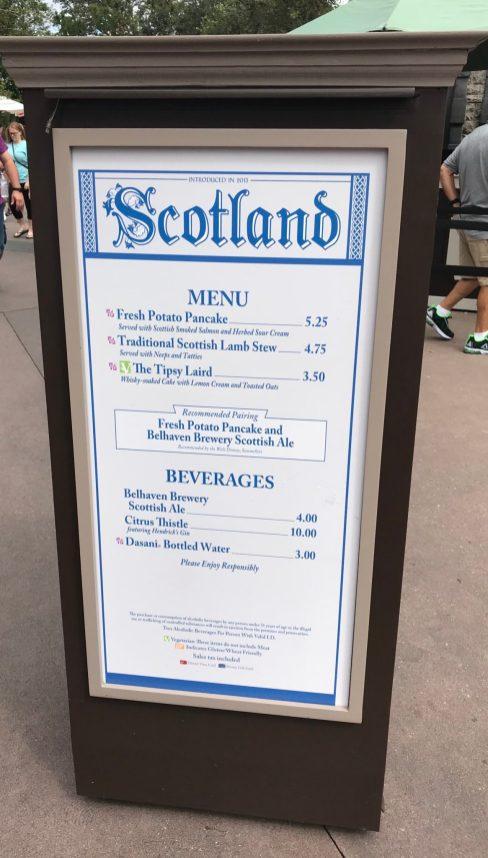 Epcot Food and Wine Scotland Menu