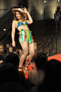 A model walks in this year's Fashion Show.