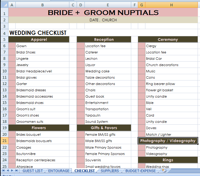 Bride + Groom checklist budgetwedding weddingchecklist