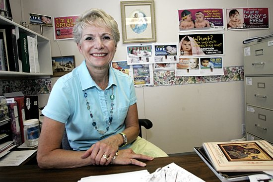 Mary Ann Kuharski sits in her office at the headquarters of Prolife Across America in this file photo. Dave Hrbacek / The Catholic Spirit