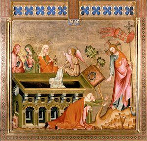 Three women at Christ's empty tomb and his appearance to Mary Magdalene is depicted in a 14th-century painting from Austria. CNS / Erich Lessing, Art Resource, New York