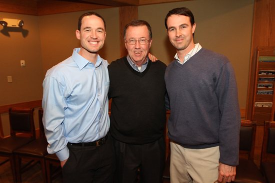 John Hannahan, center, enjoys some time with sons Jack, left, and Buzz at the annual CAA banquet on Feb. 11. All played in the CAA, with Jack going on to play Major League Baseball. He currently is an infielder with the Cincinnati Reds. Dave Hrbacek / The Catholic Spirit