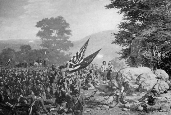 An illustration depicts Holy Cross Father William Corby, a chaplain with a Boston regiment, giving general absolution to the Irish Brigade on the second day of the Battle of Gettysburg, Pa. CNS photo/courtesy Philadelphia Archdiocesan Historical Research Center