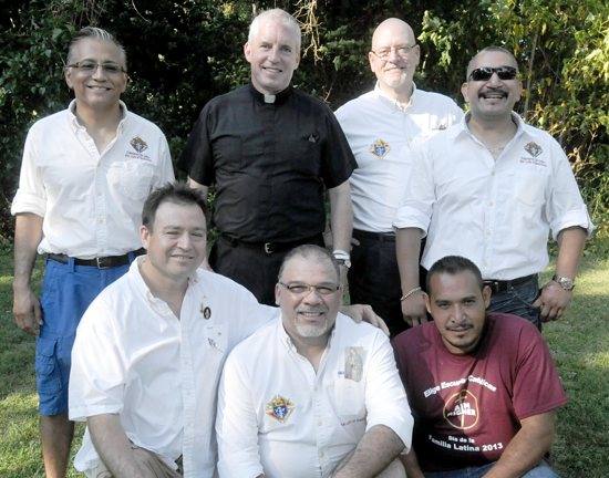 Members of the newly-formed Knights of Columbus Council of Our Lady of Guadalupe in St. Paul gathered to volunteer at the Latino Family Day event at Como Park in St. Paul Aug. 25. Pictured are top row, from left, Lou Alvarado, Father Kevin Kenney, pastor of Our Lady of Guadalupe, George Sonnen and Grand Knight Emeterio Orozco. Bottom row, from left, are Hipolito Barboza, Jose Rodriquez and Pablo Lopez. Dianne Towalski / The Catholic Spirit