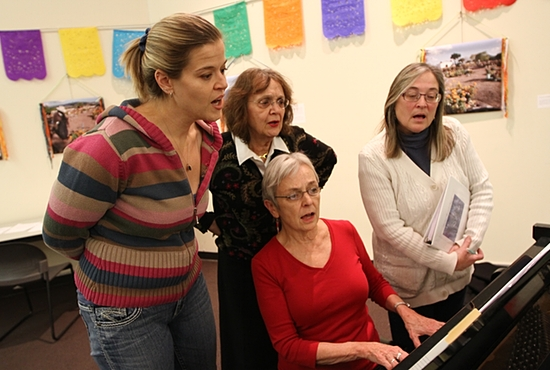 From left, Amanda Laugerman, Shelly Brandl, Ruth Gaylord and Janet Grove of the Threshold Singers practice at the Basilica of St. Mary in Minneapolis Nov. 13.   Dave Hrbacek/The Catholic Spirit