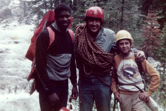 From left, Sergei Thomas joins Jack and Andrew Cozzens on a climb. Photo courtesy of Judy Cozzens