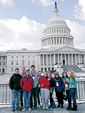 A group of students from the Archdiocese of St. Paul and Minneapolis attend the 2013 March for Life in Washington, D.C. This year, four busloads of students will attend the Jan. 22 event that protests legalized abortion on demand. Photo submitted