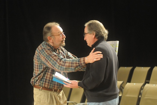 Charles Numrich, left, who plays Sir Thomas More's good friend the Duke of Norfolk, reads a scene during an early rehearsal with Gabriele Angieri, who plays Sir Thomas More. Dianne Towalski / The Catholic Spirit