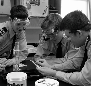 Students in a science classroom in 2009. Courtesy St. Thomas Academy.
