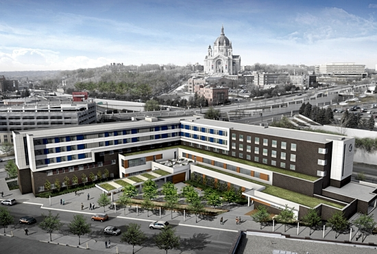 Artist's conception of Catholic Charities' planned new Dorothy Day Center on the edge of downtown St. Paul, with the Cathedral of St. Paul in the background. Courtesy Cermak Rhoades Architects.