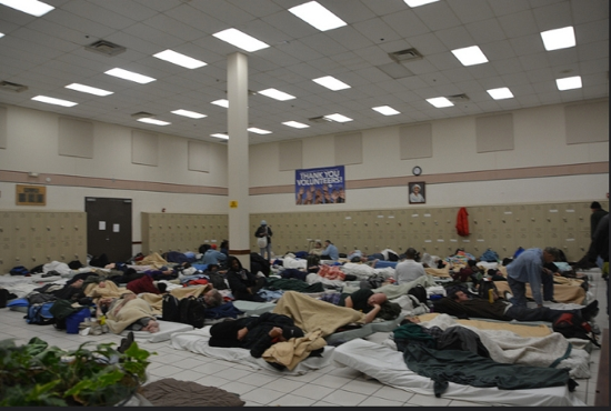 At the Dorothy Day Center, some 250 people sleep on the floor on thin mats every night. Courtesy Catholic Charities.