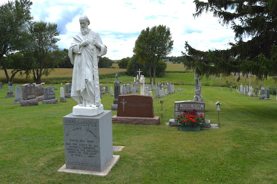The parish cemetery across the road from St. John the Evangelist Church in Union Hill includes graves of parishioners from the earliest days. The parish will celebrate its 150th anniversary with a 10 a.m. Mass Sunday, Oct. 11, with Bishop Andrew Cozzens.