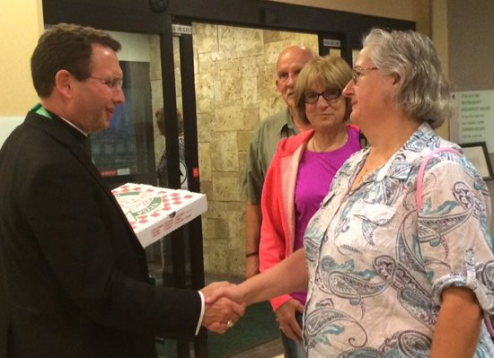 Bishop Andrew Cozzens meets with pilgrims from the Archdiocese of St. Paul and Minneapolis Sept. 25 ahead of Pope Francis' arrival in Philadelphia.