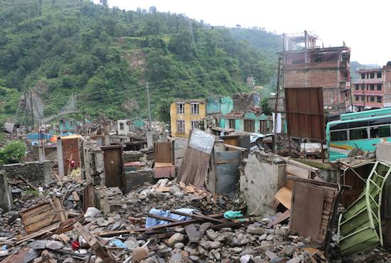 A bazaar seen in Melanchi, Nepal, July 12, three months after the April earthquake. CNS/Anto Akkara
