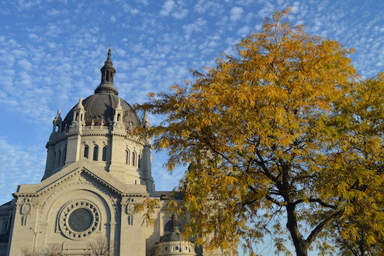 The Cathedral of St. Paul shines shortly after sunrise Nov. 3. Bob Zyskowski/The Catholic Spirit