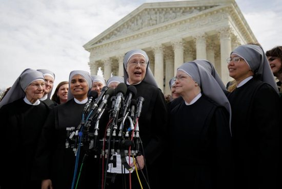 Sister Loraine Marie Maguire, mother provincial of the Denver-based Little Sisters of the Poor, speaks to the media outside the U.S. Supreme Court in Washington March 23 after attending oral arguments in the Zubik v. Burwell contraceptive mandate case. CNS photo/Joshua Roberts, Reuters
