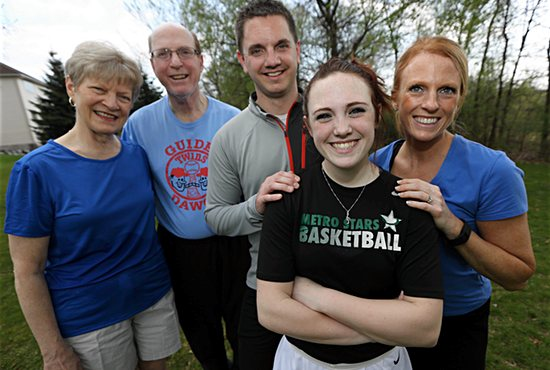 Three generations of the Spinharney family of Holy Family in St. Louis Park plan to participate in the Life is Wonderful Family Fun Run/Walk and 5K race May 7 on Raspberry Island in St. Paul in support of Abria Pregnancy Resources. From left, Sharon and Bob Spinharney, son-in-law Jeremy Miller, granddaughter Taylor Miller and daughter Kara Miller. Dave Hrbacek/ The Catholic Spirit