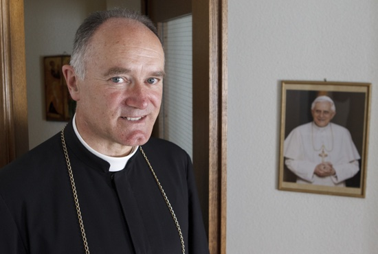 Bishop Bernard Fellay, superior of the Society of St. Pius X, is pictured in 2012 at the society's headquarters in Menzingen, Switzerland. CNS/Paul Haring