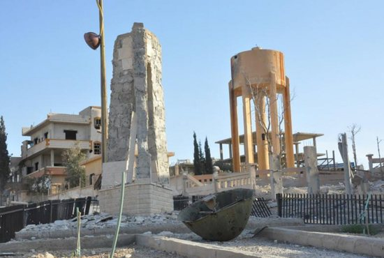 A view shows the damage in the town of Qaryatain, Syria, April 4, after forces loyal to Syrian President Bashar Assad recaptured it. The relics of Syrian St. Elian, which originally were thought to have been destroyed by members of the so-called Islamic State militia, have been found amid the rubble of the desecrated Mar Elian Church in Qaryatain. CNS photo/Syria's national news agency handout via Reuters