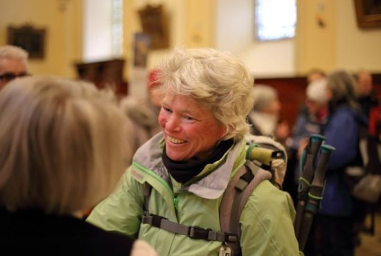 American pilgrim Ann Sieben is seen March 24, a few minutes after her arrival at Quebec City's Basilica-Cathedral Notre-Dame. As a pilgrim, Sieben walked more than 3,000 miles from her hometown of Denver, arriving just in time for the Easter triduum. CNS photo/Philippe Vaillancourt, Presence