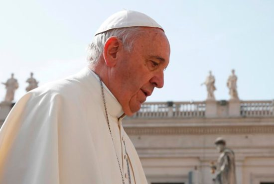 Pope Francis arrives to lead his general audience in St. Peter's Square at the Vatican April 6. CNS photo/Paul Haring