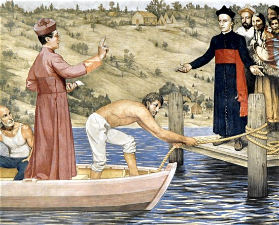 A fresco by local artist Mark Balma in a transcept of the Cathedral of St. Paul depicts Bishop Joseph Cretin arriving by boat in 1851 to take possession of the new Diocese of St. Paul. He is greeted at Pig's Eye Landing on the Mississippi River by Father Augustin Ravoux, a Native American family and early settlers. The log St. Paul Chapel that would become the diocese's first cathedral is in the background on the then sparsely populated bluff. Courtesy the Cathedral of St. Paul
