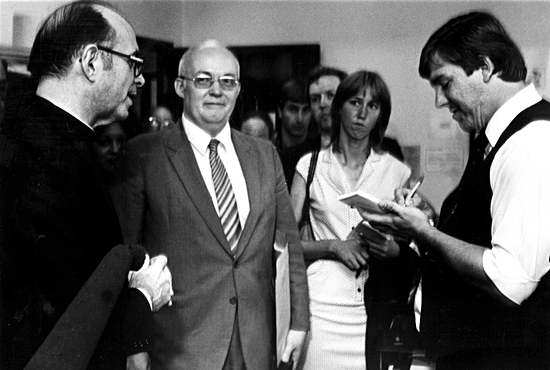 When Cardinal Joseph Bernardin, left, toured the chancery offices with the media after being named Archbishop of Chicago in 1982, he was interviewed by Bob Zyskowski, who was then managing editor of the archdiocesan newspaper, the Chicago Catholic. James Kilcoyne/Chicago Catholic