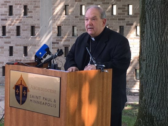 Archbishop Bernard Hebda speaks to media on the lawn of his residence May 24. Jessica Trygstad/The Catholic Spirit