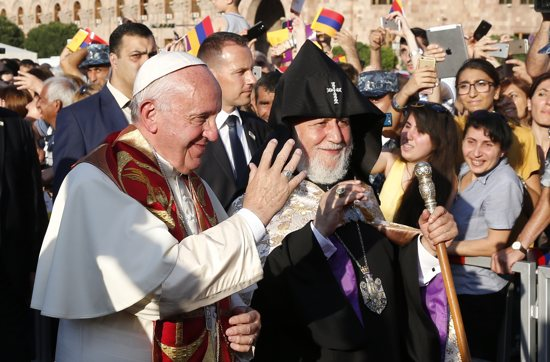 Pope Francis and Catholicos Karekin II, patriarch of the Armenian Apostolic Church, arrive for an ecumenical meeting and prayer for peace in Republic Square in Yerevan, Armenia, June 25. CNS/Paul Haring