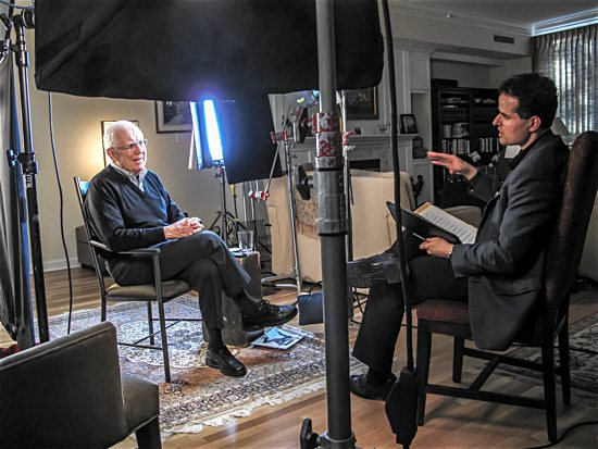 "Director David Naglieri interviews former U.S. President Ronald Reagan's national security adviser, Richard Allen, in his Denver home as part of the documentary ""Liberating a Continent: John Paul II and the Fall of Communism."" The documentary will be broadcast on PBS stations throughout the month of June. CNS"