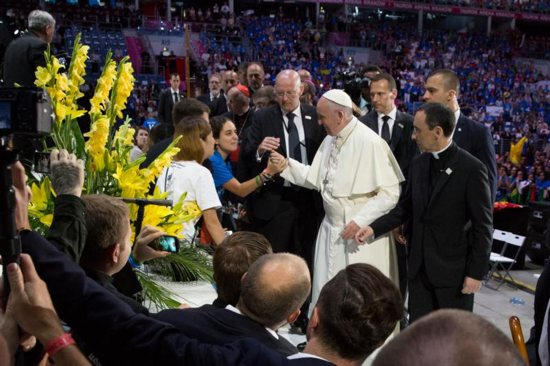 Pope Francis thanks World Youth Day volunteers gathered at the Tauron Arena July 31 in Krakow, Poland. CNS photo/Jaclyn Lippelmann, Catholic Standard)