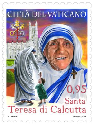 The Vatican will anticipate the canonization of Blessed Teresa of Kolkata with this special postage stamp, which will be released Sept. 2, two days before Pope Francis officially declares her a saint. CNS photo/courtesy Vatican Philatelic and Numismatic Office