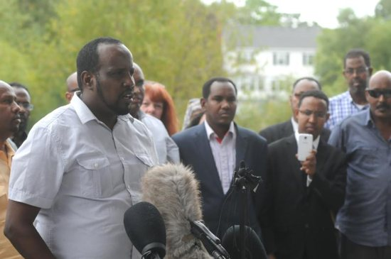 Community leader Abdul Kulane speaks during a Sept. 18 news conference organized by the local Somali-American community in St. Cloud, Minn., after a knife-wielding man injured nine people the previous day at a shopping mall. Bishop Donald J. Kettler of St. Cloud called for prayers for those impacted by the violence. CNS photo/Dianne Towalski, The Visitor