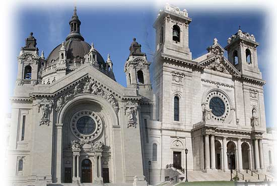 The Cathedral of St. Paul in St. Paul, left, and the Basilica of St. Mary in Minneapolis. Dave Hrbacek/The Catholic Spirit