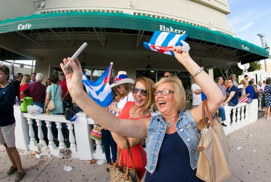 Women take a selfie in Miami's Little Havana Nov. 26. The death of former Cuban leader Fidel Castro triggered both excitement and a more subdued reaction among Cuban exiles in Miami. CNS photo/Tom Tracy