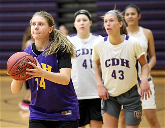 Cretin-Derham Hall's Paige Goaley takes a shot during girls basketball practice Nov. 15. The Raiders will join 11 other Catholic schools in the first-ever Thanksgiving girls hoops tournament Nov. 25-26 sponsored by the Archdiocese of St. Paul and Minneapolis' Office of Development and Stewardship. Dave Hrbacek/The Catholic Spirit