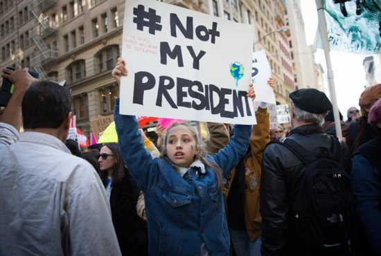 Protestestors demonstrating against President-elect Donald Trump are seen in New York City Nov. 12. CNS photo/Kevin Hagen, EPA