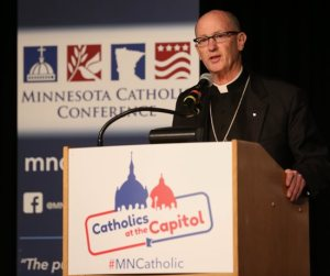 Bishop James Conley of Lincoln, Nebraska, offers encouragement to Catholics during his talk at Catholics at the Capitol March 9. Dave Hrbacek/The Catholic