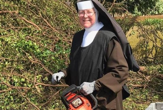 Nun wields chainsaw to help clean up after Hurricane Irma
