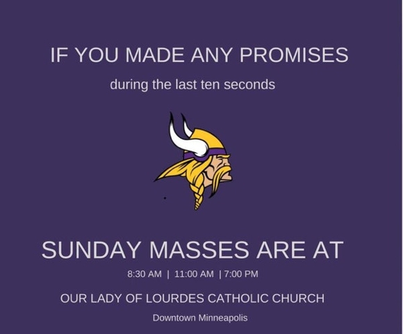 Answered prayers? Our Lady of Lourdes' Vikings Facebook post goes