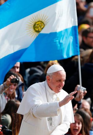 Pope Francis by Argentina flag